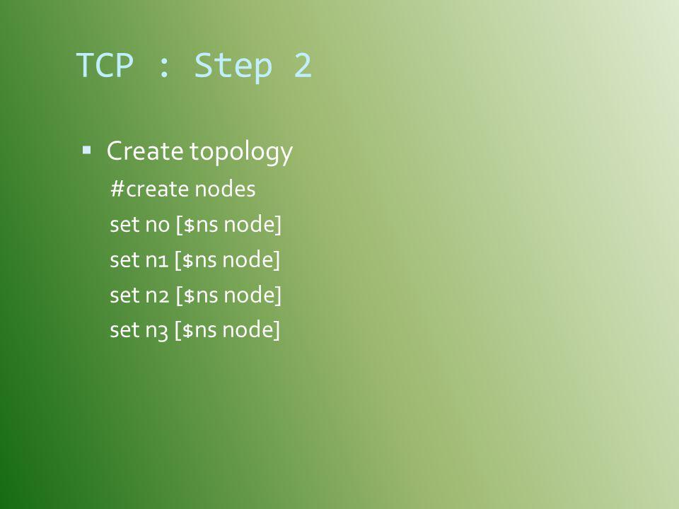 TCP : Step 2 Create topology #create nodes set n0 [$ns node]
